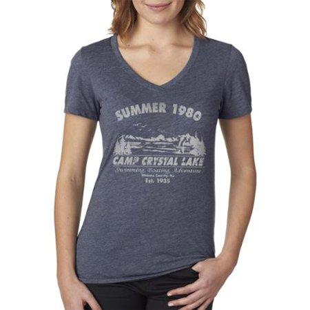 Women's Summer 1980 Camp Crystal Lake Halloween V-neck Navy Cotton T-shirt Large