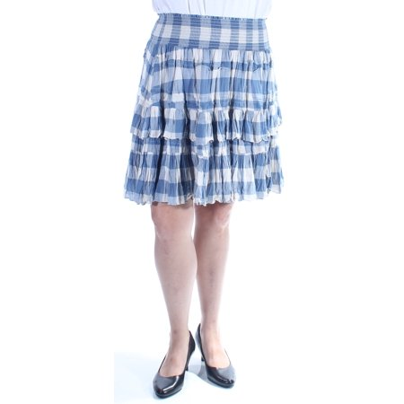 Ralph Lauren Womens Blue Ruched Plaid Knee Length Peasant Skirt  Size: 10](Peasant Skirt)