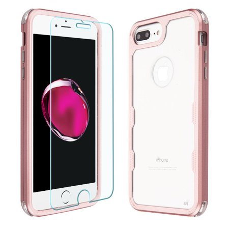 Apple iPhone 8 Plus iPhone 7 Plus iPhone 6/6S Plus - Phone Case Tuff Hybrid Armor Shockproof Impact Rubber Protective Cover + Screen Protector Clear Rose Gold Case for iPhone (Protective Rubber Iphone)