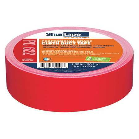Duct Tape,55m L,1-54/67 in. D,Red SHURTAPE PC 622
