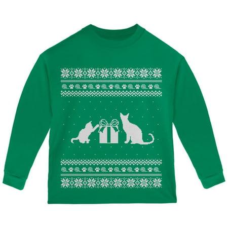 e3eec88814cde6 Old Glory - Cats Ugly Christmas Sweater Green Toddler Long Sleeve T-Shirt -  Walmart.com