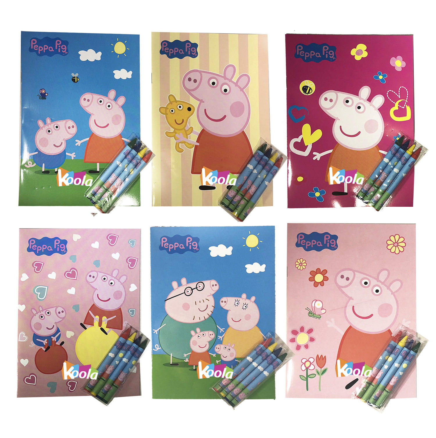 6pcs Peppa Pig Coloring Book With Crayon Party Favors Activity Book For  Kids - Walmart.com - Walmart.com