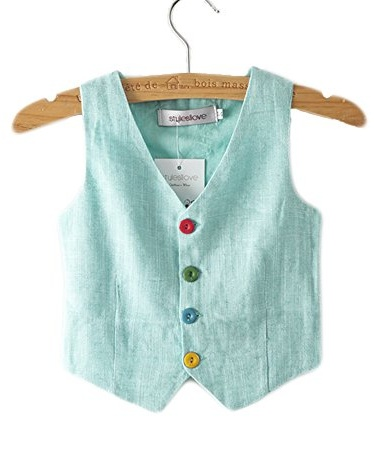Stylesilove Baby Boy Linen-cotton Tuxedo Vest (18-24 Months, Aqua)