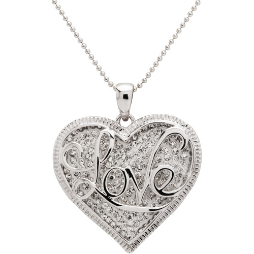 Crystal Heart with Love Sterling Silver Pendant, 18""