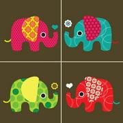 Secretly Designed Four Elephants Paper Print