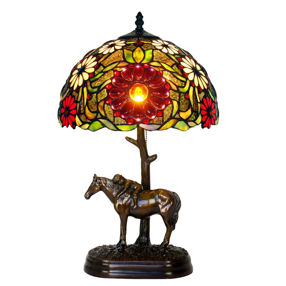 Bieye L10017 12-inches Sunflower Tiffany Style Stained Glass Table Lamp with 100% Brass Horse Base, 19-inch in Height
