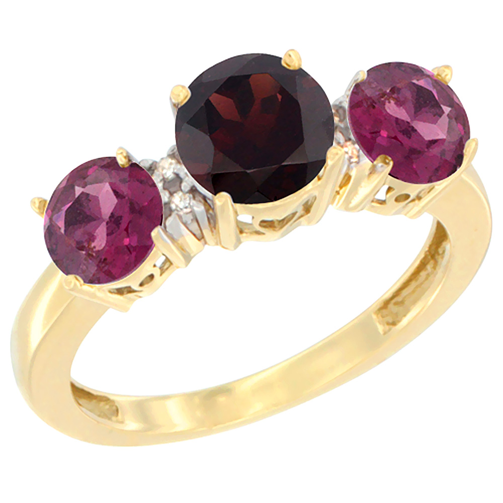 10K Yellow Gold Round 3-Stone Natural Garnet Ring & Rhodolite Sides Diamond Accent, sizes 5 10 by WorldJewels