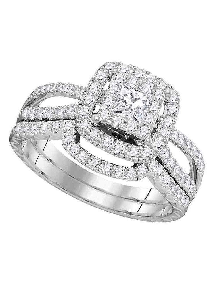 14K White Gold Womens Natural Princess Diamond Bridal Wedding Engagement Ring Band Set (1.00 cttw.) size- 8.5 by