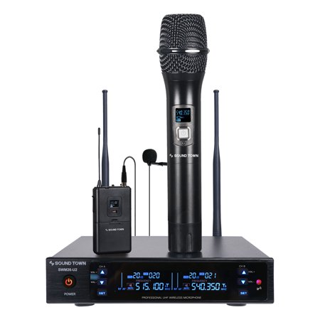 Sound Town Metal 200 Channels UHF Wireless Microphone System with 1 Handheld Mic, 1 Lavalier Mic and Bodypack Transmitter for Church, School, Outdoor Wedding, Meeting, Party and Karaoke (SWM26-U2HL)