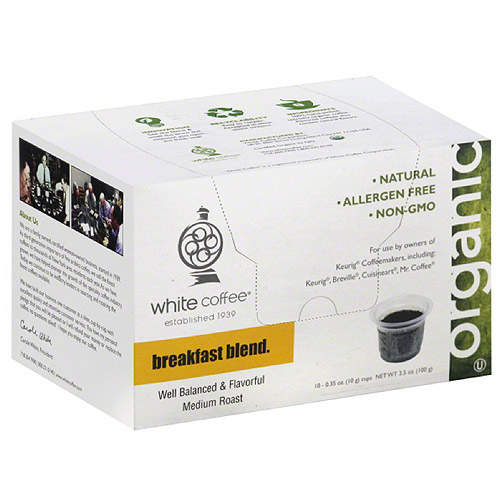 White Coffee Organic Breakfast Blend Coffee, 3.5 oz, (Pack of 4)