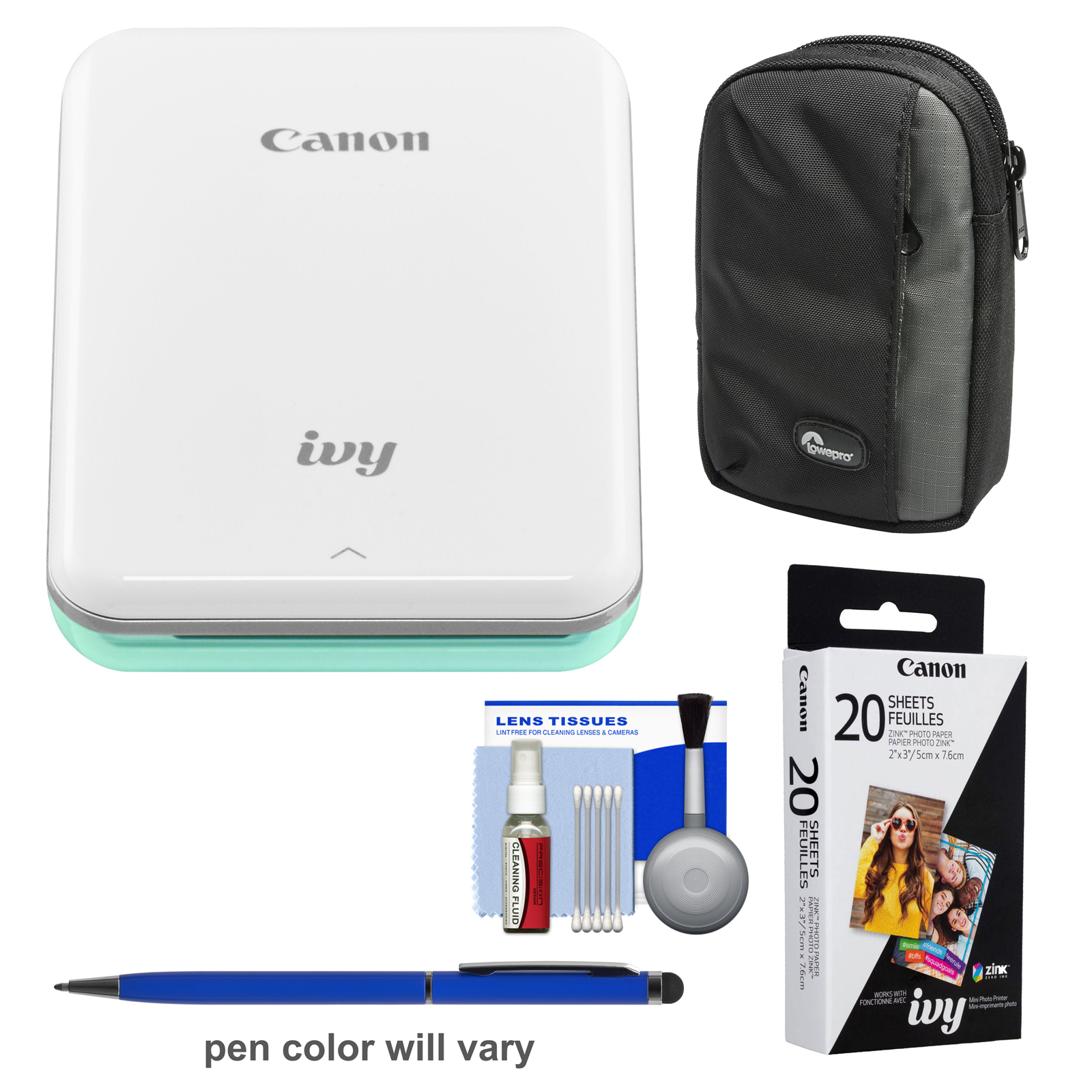 Canon IVY Wireless Bluetooth Mini Photo Printer (Mint Green) with 20 ZINK Photo Paper Pack + Case + Kit
