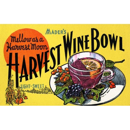 Maders Harvest Wine Bowl is as Mellow as a Harvest Moon on this early advertising postcard for a fall drink Poster Print by Curt Teich & Company Hotel Advertising Postcard