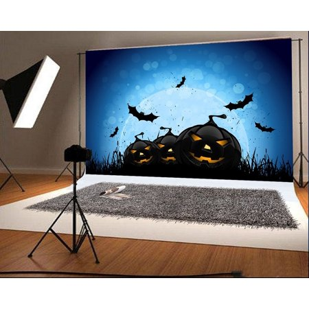 GreenDecor Polyster 7x5ft Halloween Photography Backdrops Black Pumpkin Face Bat Moon for Child Photo Studio Backgrounds (Halloween Moon Faces)