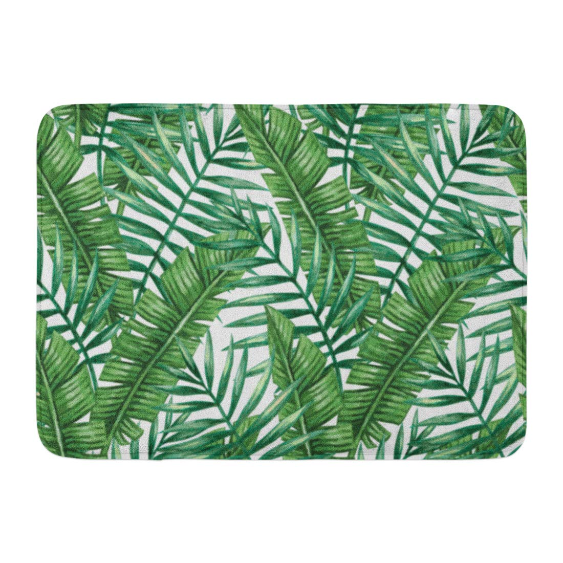 GODPOK White Summer Colorful Leaf Watercolor Tropical Palm Leaves Green Tree Beautiful Rug Doormat Bath Mat 23.6x15.7 inch