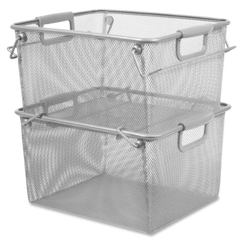 Lorell Silver Mesh Stacking Mesh Storage Bins with Carrying Handle (Set of 2)
