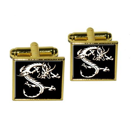 Asian Chinese Dragon - Black Square Cufflinks ()