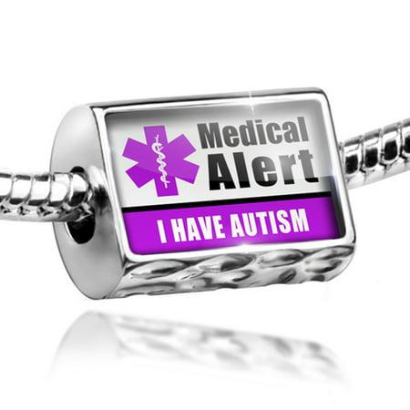 Bead Medical Alert Purple I Have Autism Charm Fits All European Bracelets (Autism Charms)