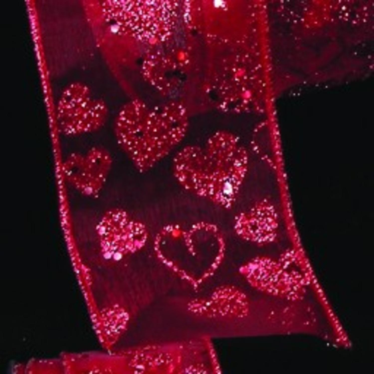 "Sheer Red Love Glitter Hearts Wired Craft Ribbon 1.5"" x 27 Yards"