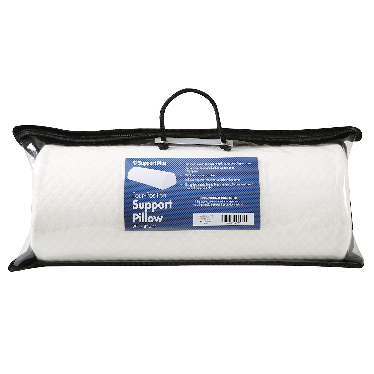 Body Pillow for Back Pain Relief Half-Moon Bolster//Wedge Provides Best Support