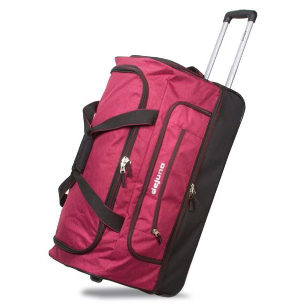 Dejuno 28 Lightweight Denim Drop Bottom Rolling Duffel Bag Burgundy Walmart Com Walmart Com