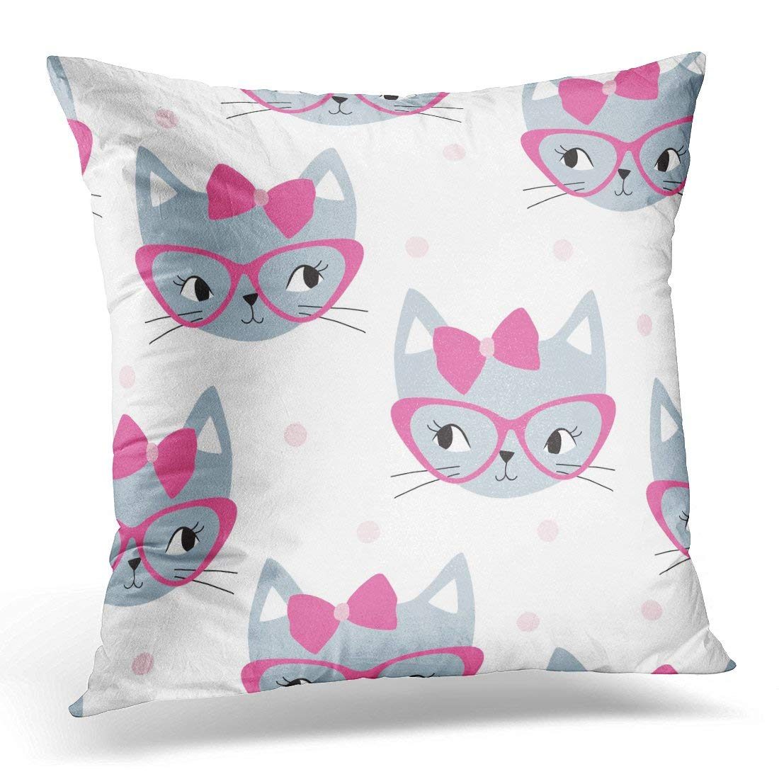 ARHOME Colorful Cute Grey Cat with Pink Pattern White Kid Pillow Case Pillow Cover 20x20 inch