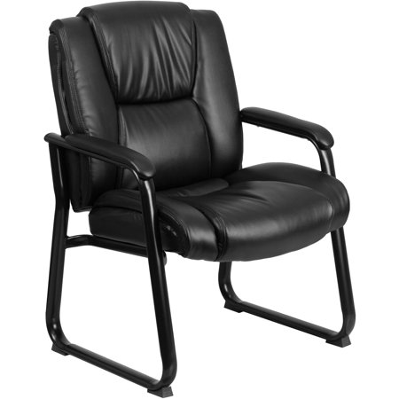 Flash Furniture Hercules Series 500 Lb Capacity Big And Tall Black Leather Executive Side Chair With Sled Base