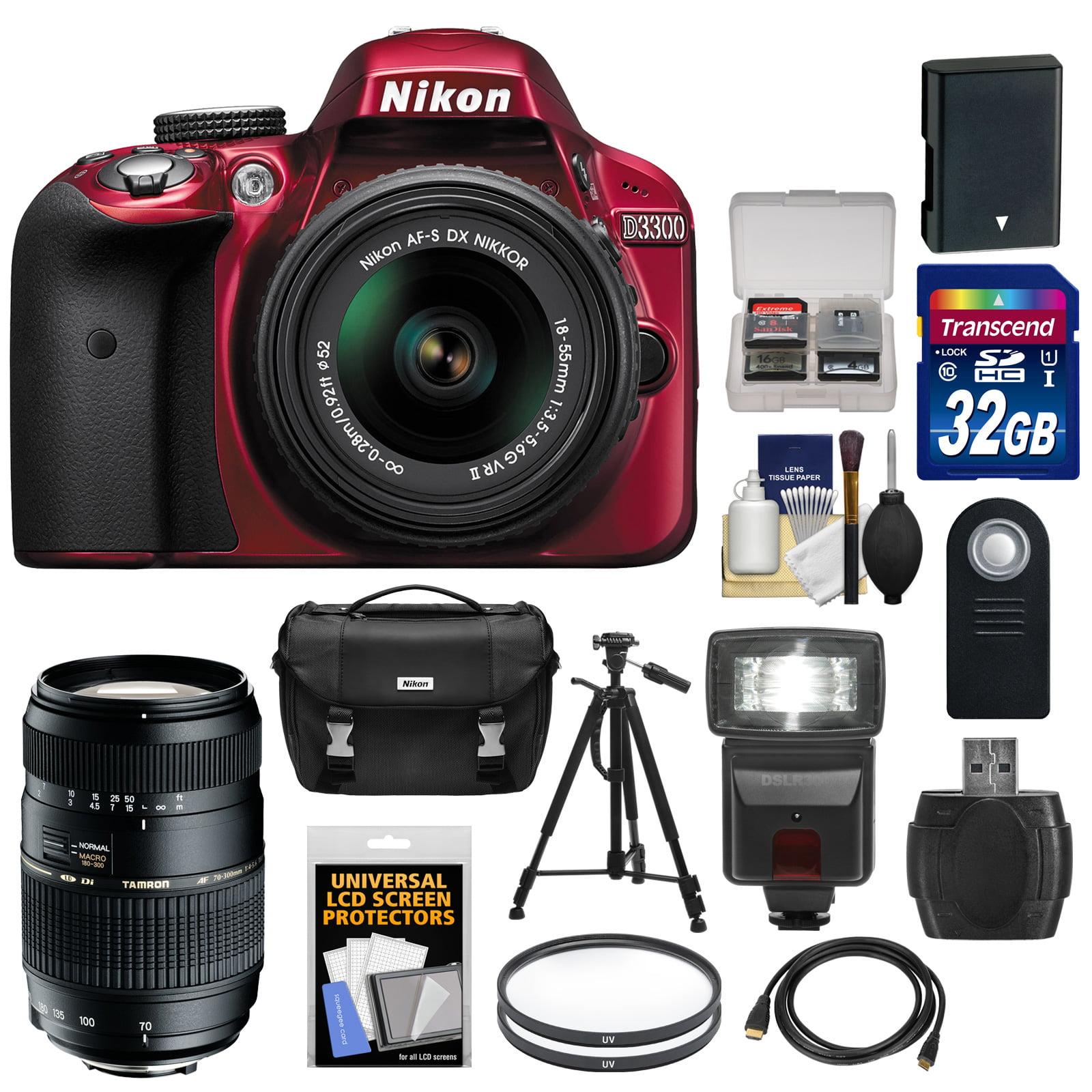 Nikon D3300 Digital SLR Camera & 18-55mm G VR DX II AF-S Zoom Lens (Red) with 70-300mm Lens + 32GB Card + Battery + Case + Filters + Flash + Tripod + Accessory Kit