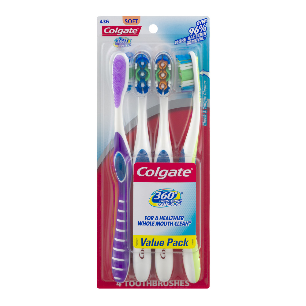 Colgate 360 Whole Mouth Clean Toothbrushes Soft - 4 CT