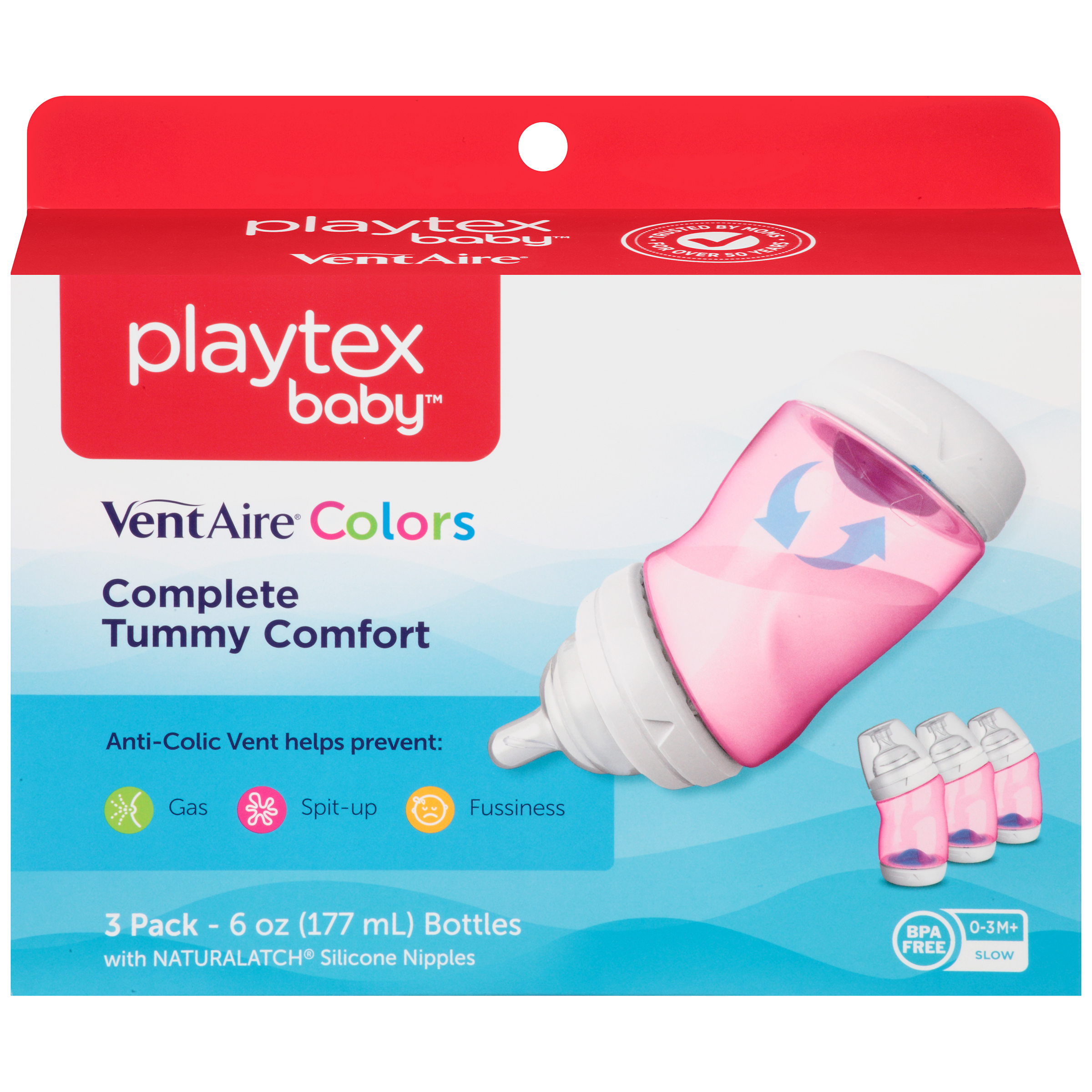 Playtex Baby VentAire Advanced Baby Bottles - 6oz, Pink, 3pk