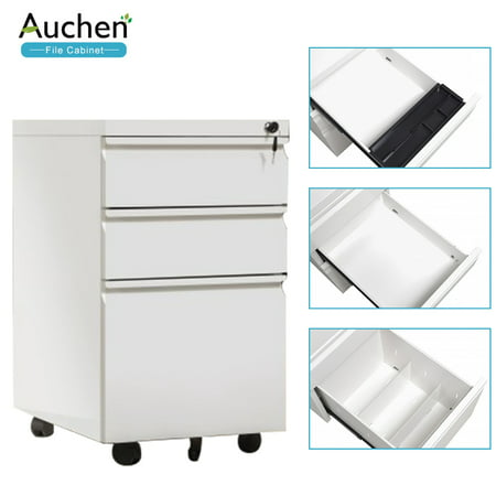 White File Cabinet,AUCHEN 3 Drawer Rolling Metal Filing Cabinet with Lock and Key - 5 Wheels Anti-tilt Mechanism - Legal & Business Files Office Home Storage- Solid Steel Construction(Style A- White) ()