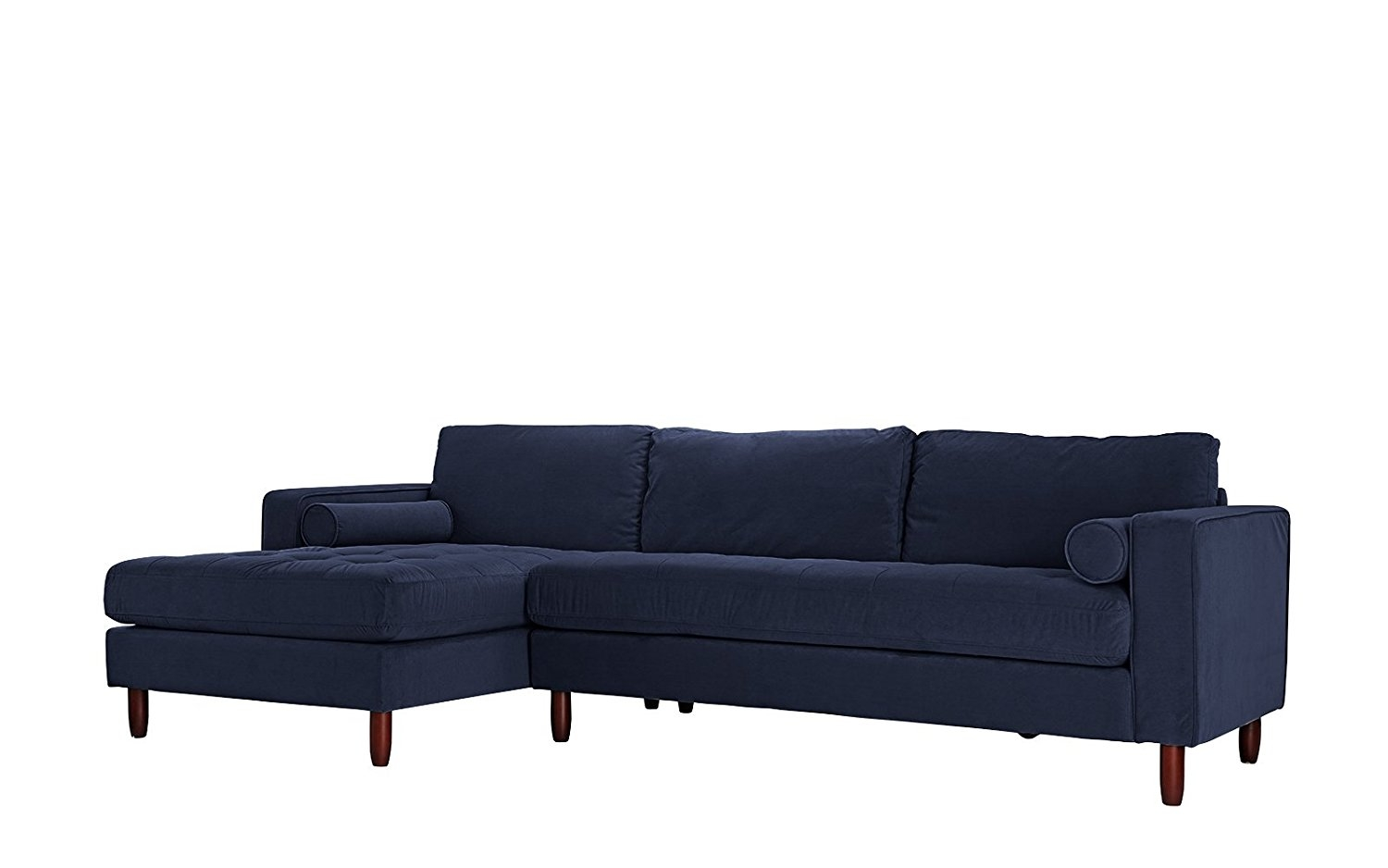 Mid Century Modern Tufted Velvet Sectional Sofa, L Shape Couch With Extra  Wide Chaise Lounge (Navy)   Walmart.com