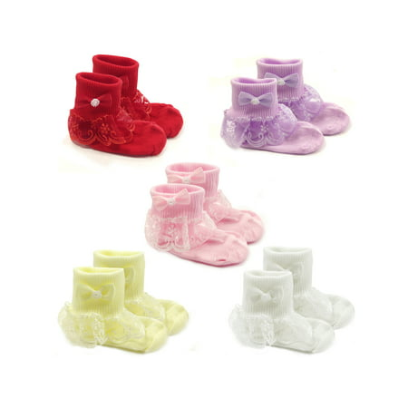 Infant Ruffle Socks - Wrapables® Snowy Lace Ruffle Cuff Socks for Toddler Girl (Size 1-3), Set of 5