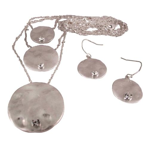 Triple Strand Hammered Metal Disc Necklace / Earrings
