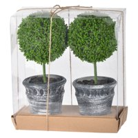A and B Home Mini Faux Topiaries - Set of 2