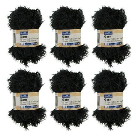 BambooMN Brand - Eyelash Yarn - 50g - 6 Skeins - Black - Eyelash Yarn Patterns