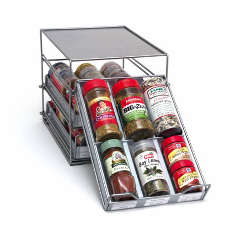 3-Tier Tilt Down Spice Drawer, Silver Grey