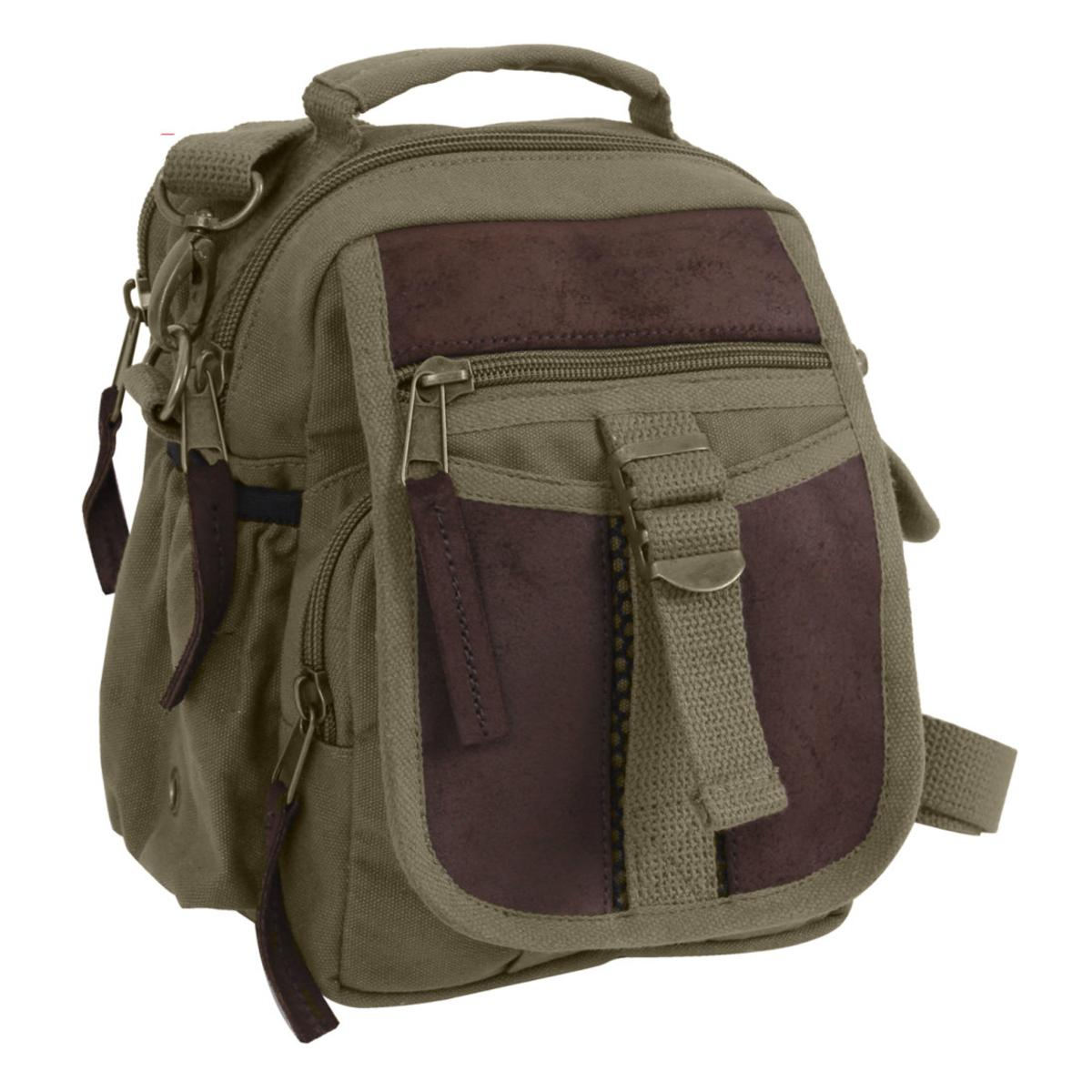 Rothco Canvas and Leather Travel Shoulder Bag w Removable Strap, Belt Loop by Rothco