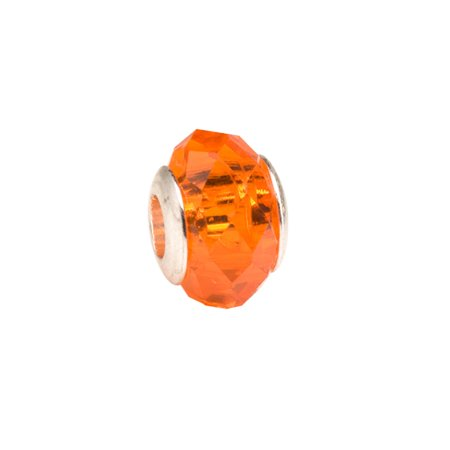 Orange Diamond Faceted Beauty Large Hole Beads Murano Lampwork European Glass Crystal Charms Beads Spacers Fit Pandora Troll Chamilia Carlo Biagi Zable Snake Chain Charm Bracelets 10x13.5mm (Making Lampwork Glass Beads)