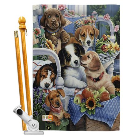 Breeze Decor BD-PT-HS-110050-IP-BO-D-US12-AL 28 x 40 in. Vertical Country Pups Nature Pets Impressions Decorative Double Sided House Flag Set with Pole & Bracket Hardware - image 1 de 1