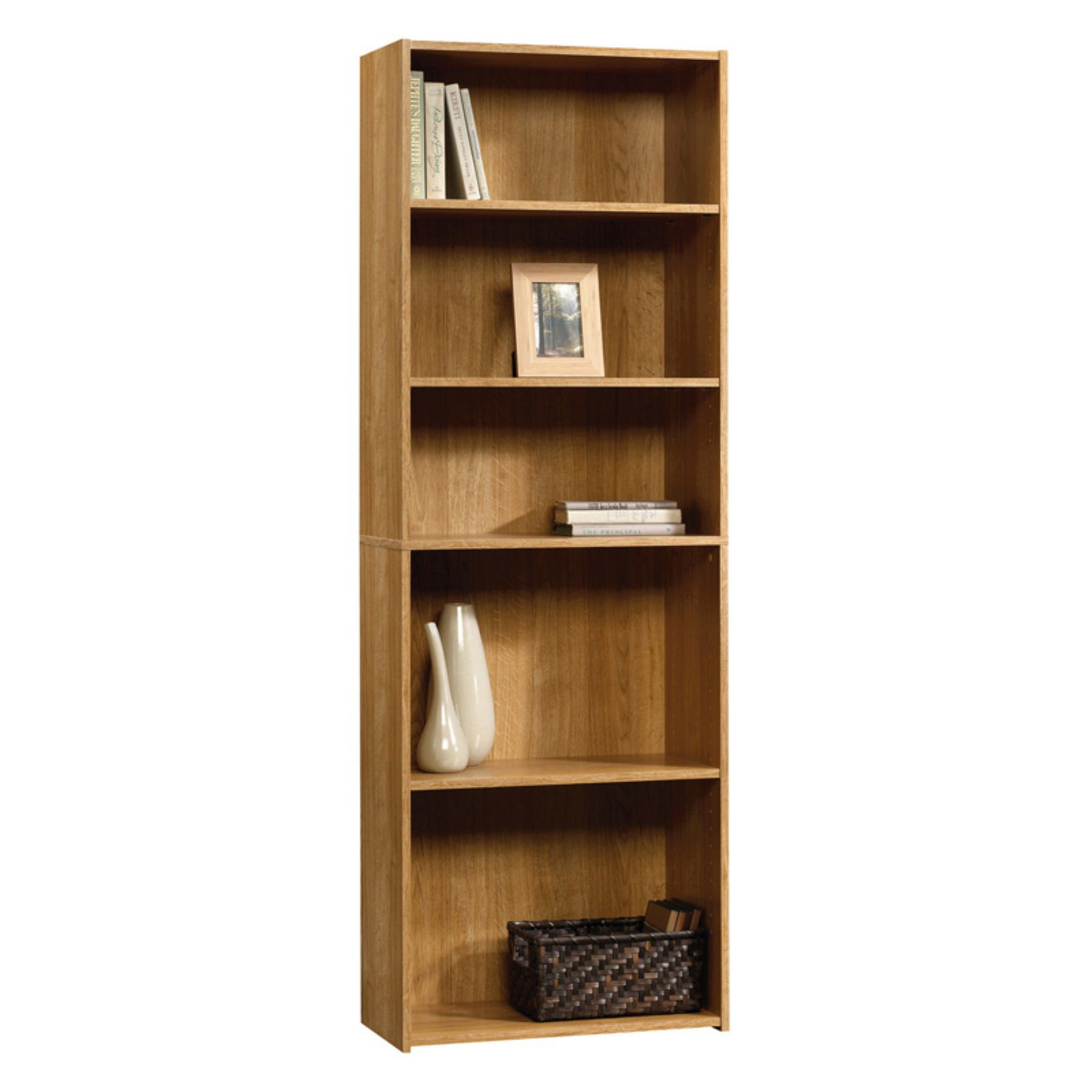 Sauder Beginnings 5 Shelf Bookcase, Highland Oak Finish