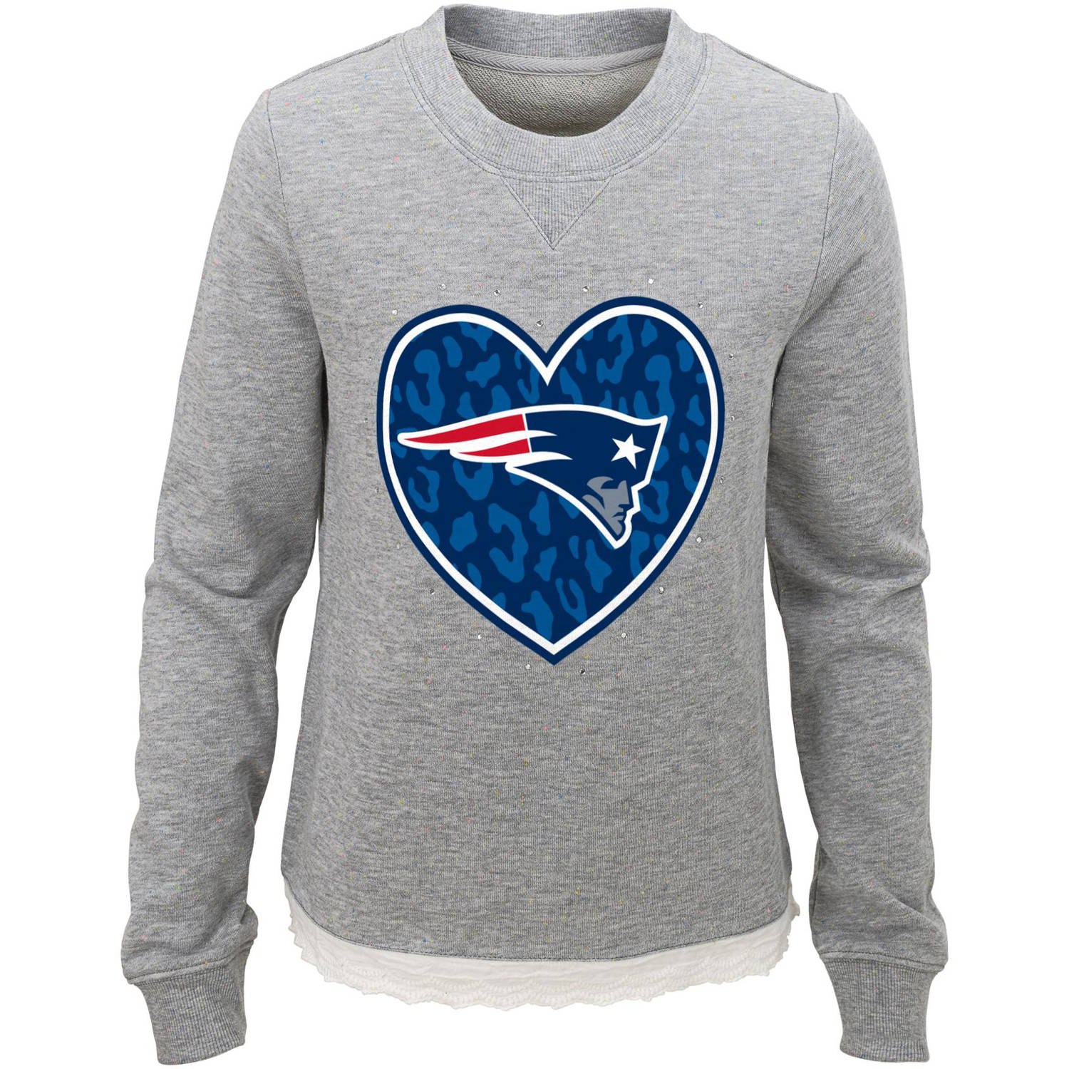 NFL Girls Patriots Long Sleeve French Terry Crew Neck Fleece
