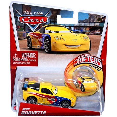 Disney Cars Micro Drifters Jeff Gorvette Diecast Car [With Micro - Drifter Cap