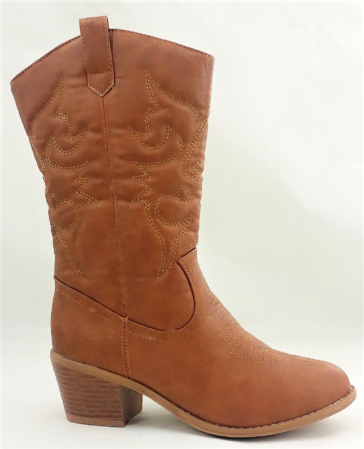 BDW-14W Western Cowboy Cowgirl Mid Calf Pointed Toe Stitched Boots Tan