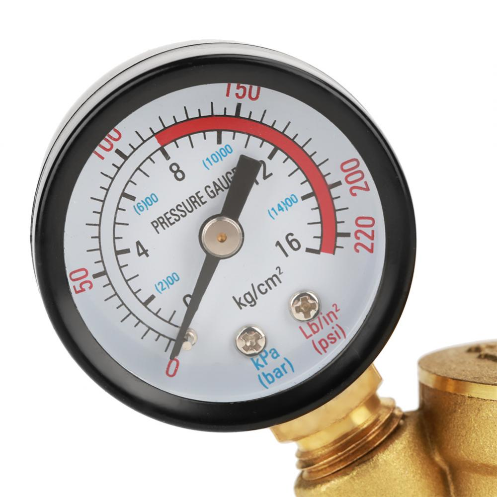 Water Pressure Regulator Valve DN25 Brass Adjustable Water Pressure Reducing Regulator Reducer+Gauge Meter