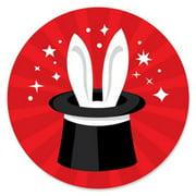 Ta-Da, Magic Show - Magical Birthday Party Circle Sticker Labels - 24 Count