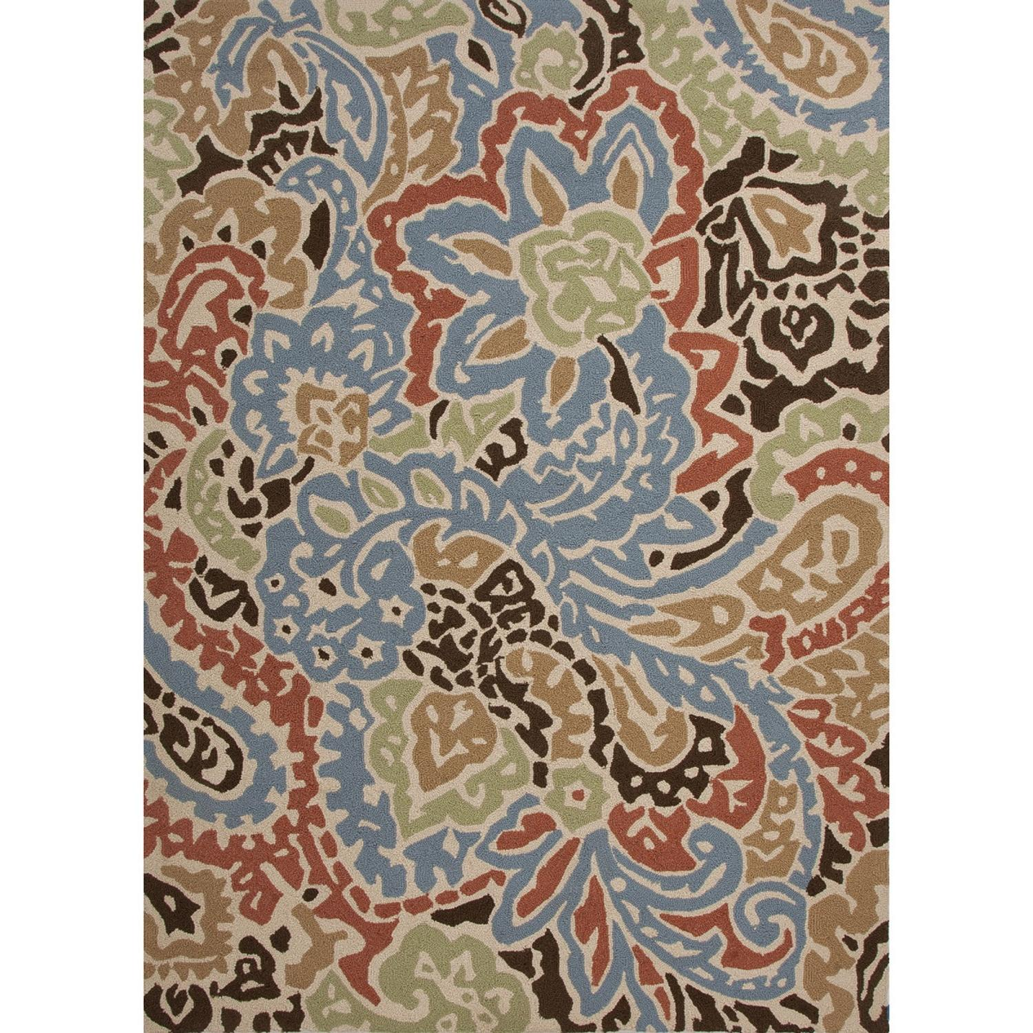 2' x 3' Multicolored Flores Design Outdoor Area Throw Rug