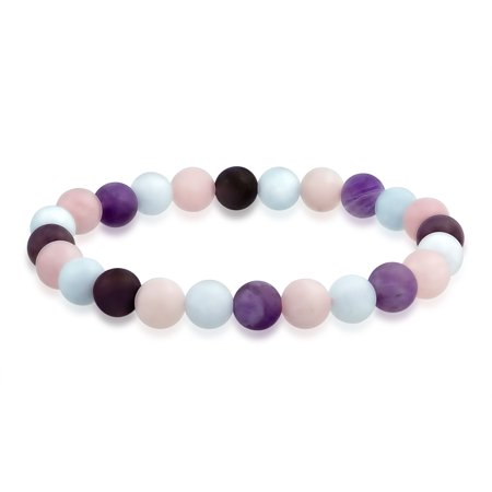 Natural Multi Color Semi Precious Gemstone Round Bead 8MM Strand Stackable Stretch Bracelet For Women Men Teen Unisex