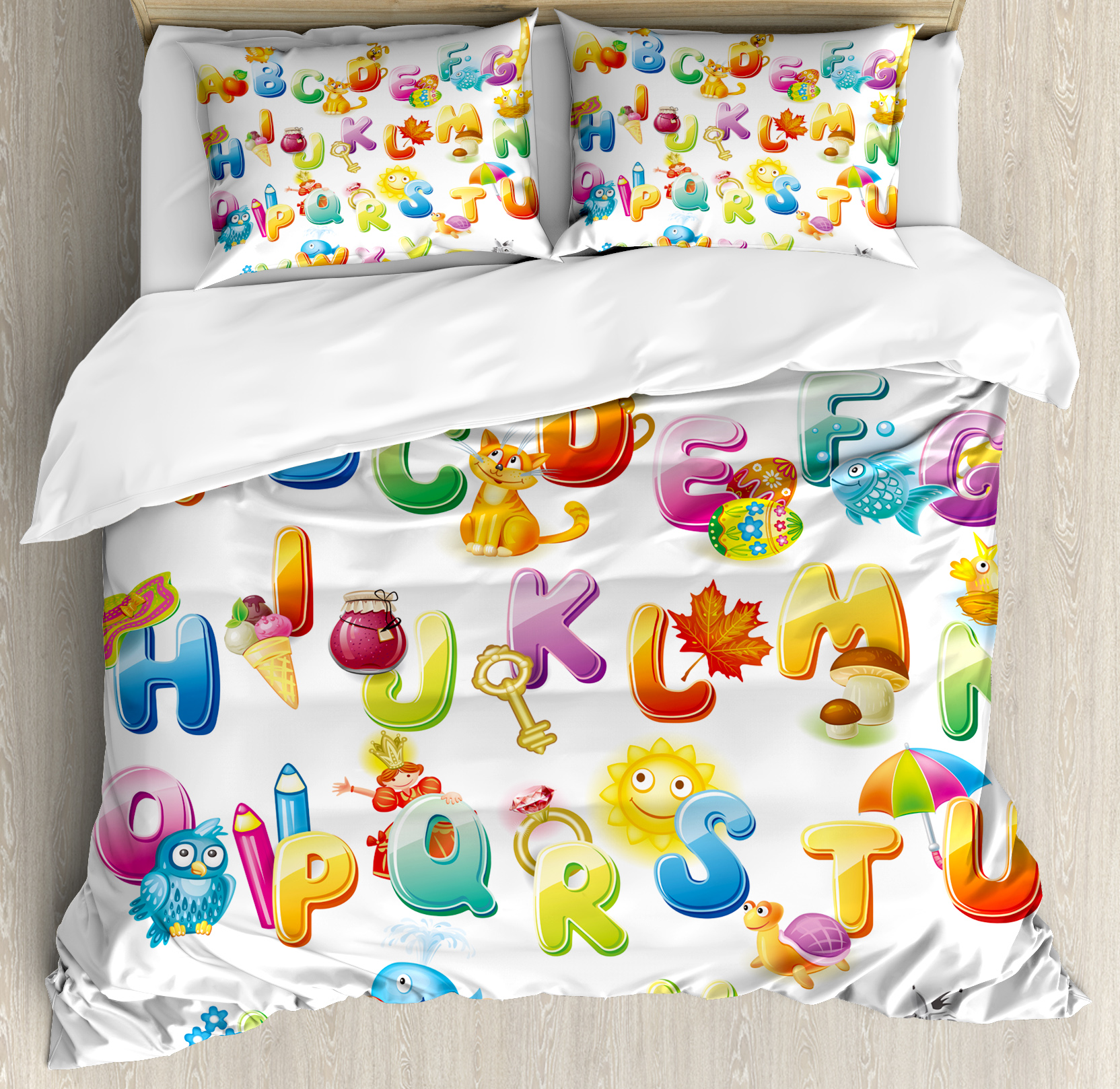 Educational King Size Duvet Cover Set, Cheerful Cartoon Fun Alphabet Design for Kids Cute... by Kozmos
