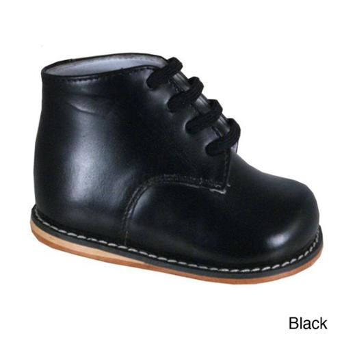 Boy's Ankle-height Leather Oxfords Black Size 2.5