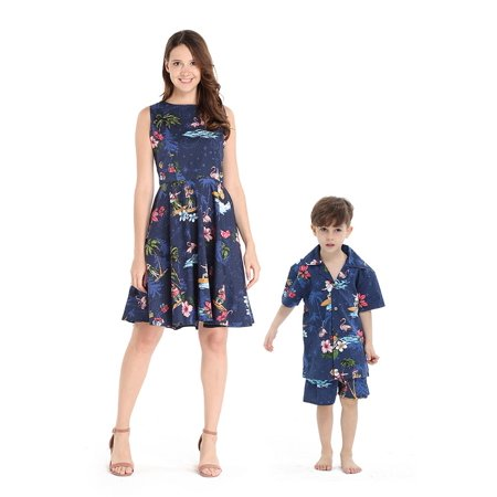 Matching Mother Son Hawaiian Luau Outfit Women Vintage Dress Boy Shirt Shorts Christmas Santa in Hawaii Navy - Mother Xmas Outfits